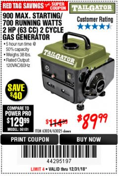Harbor Freight Coupon 900 PEAK / 700 RUNNING WATTS, 2HP (63CC) 2 CYCLE GAS GENERATOR EPA/CARB Lot No. 63024/63025 Expired: 12/31/18 - $89.99