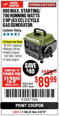 Harbor Freight Coupon 900 PEAK / 700 RUNNING WATTS, 2HP (63CC) 2 CYCLE GAS GENERATOR EPA/CARB Lot No. 63024/63025 Expired: 2/3/19 - $89.99