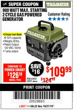 Harbor Freight Coupon TAILGATOR 900 PEAK / 700 RUNNING WATTS, 2HP (63CC) 2 CYCLE GAS GENERATOR EPA/CARB Lot No. 63024/63025 Expired: 10/27/19 - $109.99