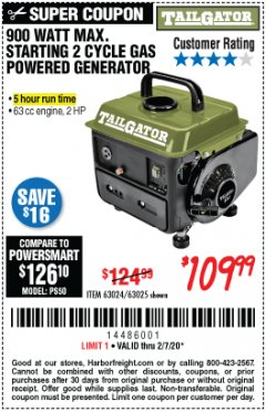 Harbor Freight Coupon TAILGATOR 900 PEAK / 700 RUNNING WATTS, 2HP (63CC) 2 CYCLE GAS GENERATOR EPA/CARB Lot No. 63024/63025 Expired: 2/7/20 - $109.99