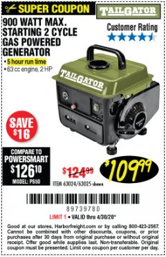 Harbor Freight Coupon TAILGATOR 900 PEAK / 700 RUNNING WATTS, 2HP (63CC) 2 CYCLE GAS GENERATOR EPA/CARB Lot No. 63024/63025 EXPIRES: 6/30/20 - $109.99