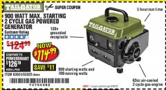 Harbor Freight Coupon TAILGATOR 900 PEAK / 700 RUNNING WATTS, 2HP (63CC) 2 CYCLE GAS GENERATOR EPA/CARB Lot No. 63024/63025 Expired: 6/28/20 - $114.99