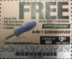 Harbor Freight FREE Coupon 4-IN-1 SCREWDRIVER Lot No. 98899/69470/61988 Expired: 4/3/18 - FWP