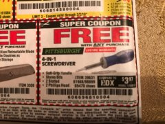 Harbor Freight FREE Coupon 4-IN-1 SCREWDRIVER Lot No. 98899/69470/61988 Expired: 3/2/19 - FWP