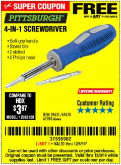 Harbor Freight FREE Coupon 4-IN-1 SCREWDRIVER Lot No. 98899/69470/61988 Expired: 12/8/19 - FWP