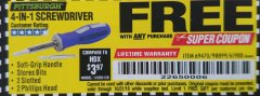 Harbor Freight FREE Coupon 4-IN-1 SCREWDRIVER Lot No. 98899/69470/61988 Expired: 10/31/18 - FWP