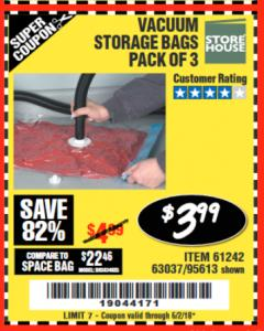 Harbor Freight Coupon VACUUM STORAGE BAGS PACK OF 3 Lot No. 61242/95613 Expired: 6/2/18 - $3.99