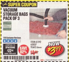 Harbor Freight Coupon VACUUM STORAGE BAGS PACK OF 3 Lot No. 61242/95613 Expired: 11/30/19 - $3.99