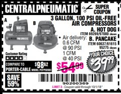 Harbor Freight Coupon 3 GALLON, 100 PSI OILLESS AIR COMPRESSORS Lot No. 69269/97080/60637/61615/95275 Expired: 10/1/18 - $39.99