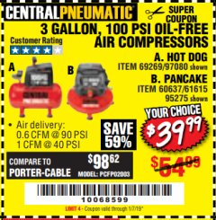 Harbor Freight Coupon 3 GALLON, 100 PSI OILLESS AIR COMPRESSORS Lot No. 69269/97080/60637/61615/95275 Expired: 1/7/19 - $39.99
