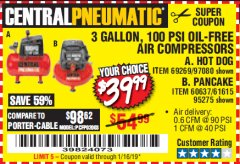 Harbor Freight Coupon 3 GALLON, 100 PSI OILLESS AIR COMPRESSORS Lot No. 69269/97080/60637/61615/95275 Expired: 1/16/19 - $39.99