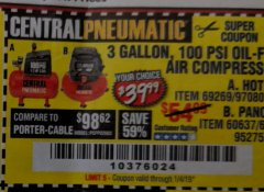 Harbor Freight Coupon 3 GALLON, 100 PSI OILLESS AIR COMPRESSORS Lot No. 69269/97080/60637/61615/95275 Expired: 1/4/19 - $39.99