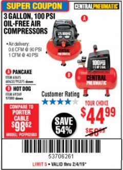 Harbor Freight Coupon 3 GALLON, 100 PSI OILLESS AIR COMPRESSORS Lot No. 69269/97080/60637/61615/95275 Expired: 2/4/19 - $44.99