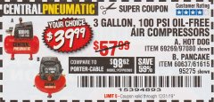 Harbor Freight Coupon 3 GALLON, 100 PSI OILLESS AIR COMPRESSORS Lot No. 69269/97080/60637/61615/95275 Expired: 12/31/19 - $39.99