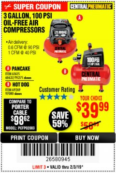 Harbor Freight Coupon 3 GALLON, 100 PSI OILLESS AIR COMPRESSORS Lot No. 69269/97080/60637/61615/95275 Expired: 2/3/19 - $39.99