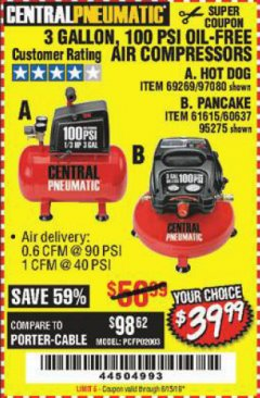 Harbor Freight Coupon 3 GALLON, 100 PSI OILLESS AIR COMPRESSORS Lot No. 69269/97080/60637/61615/95275 Expired: 6/15/19 - $39.99