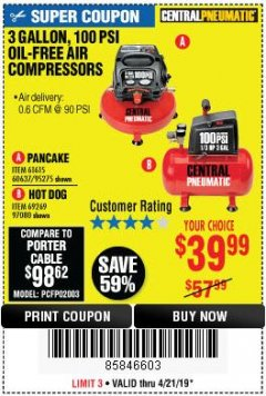 Harbor Freight Coupon 3 GALLON, 100 PSI OILLESS AIR COMPRESSORS Lot No. 69269/97080/60637/61615/95275 Expired: 4/21/19 - $39.99