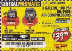 Harbor Freight Coupon 3 GALLON, 100 PSI OILLESS AIR COMPRESSORS Lot No. 69269/97080/60637/61615/95275 Expired: 10/30/19 - $39.99