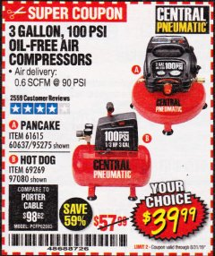 Harbor Freight Coupon 3 GALLON, 100 PSI OILLESS AIR COMPRESSORS Lot No. 69269/97080/60637/61615/95275 Expired: 8/31/19 - $39.99
