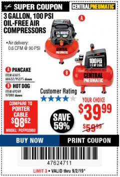Harbor Freight Coupon 3 GALLON, 100 PSI OILLESS AIR COMPRESSORS Lot No. 69269/97080/60637/61615/95275 Expired: 9/2/19 - $39.99