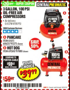 Harbor Freight Coupon 3 GALLON, 100 PSI OILLESS AIR COMPRESSORS Lot No. 69269/97080/60637/61615/95275 Expired: 10/31/19 - $39.99