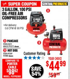 Harbor Freight Coupon 3 GALLON, 100 PSI OILLESS AIR COMPRESSORS Lot No. 69269/97080/60637/61615/95275 Expired: 10/4/19 - $44.99