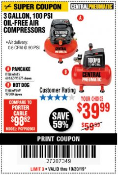 Harbor Freight Coupon 3 GALLON, 100 PSI OILLESS AIR COMPRESSORS Lot No. 69269/97080/60637/61615/95275 Expired: 10/20/19 - $39.99