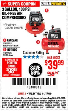 Harbor Freight Coupon 3 GALLON, 100 PSI OILLESS AIR COMPRESSORS Lot No. 69269/97080/60637/61615/95275 Expired: 11/17/19 - $39.99