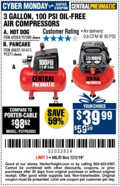 Harbor Freight Coupon 3 GALLON, 100 PSI OILLESS AIR COMPRESSORS Lot No. 69269/97080/60637/61615/95275 Expired: 12/1/19 - $39.99