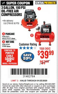 Harbor Freight Coupon 3 GALLON, 100 PSI OILLESS AIR COMPRESSORS Lot No. 69269/97080/60637/61615/95275 Expired: 1/25/20 - $39.99