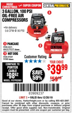 Harbor Freight Coupon 3 GALLON, 100 PSI OILLESS AIR COMPRESSORS Lot No. 69269/97080/60637/61615/95275 Expired: 12/26/19 - $39.99