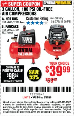 Harbor Freight Coupon 3 GALLON, 100 PSI OILLESS AIR COMPRESSORS Lot No. 69269/97080/60637/61615/95275 Expired: 2/16/20 - $39.99