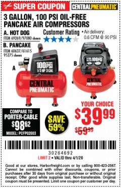 Harbor Freight Coupon 3 GALLON, 100 PSI OILLESS AIR COMPRESSORS Lot No. 69269/97080/60637/61615/95275 Expired: 4/1/20 - $39.99