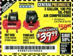 Harbor Freight Coupon 3 GALLON, 100 PSI OILLESS AIR COMPRESSORS Lot No. 69269/97080/60637/61615/95275 Expired: 6/30/20 - $39.99