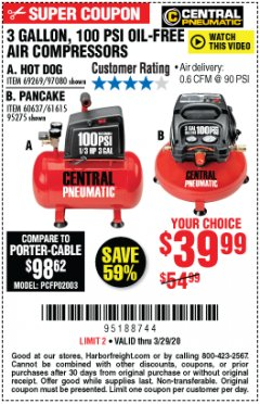 Harbor Freight Coupon 3 GALLON, 100 PSI OILLESS AIR COMPRESSORS Lot No. 69269/97080/60637/61615/95275 Expired: 3/29/20 - $39.99