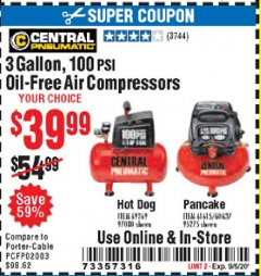Harbor Freight Coupon 3 GALLON, 100 PSI OILLESS AIR COMPRESSORS Lot No. 69269/97080/60637/61615/95275 Expired: 9/6/20 - $39.99
