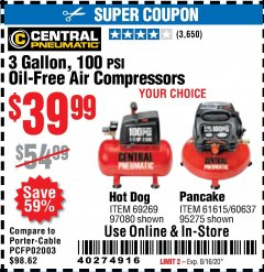 Harbor Freight Coupon 3 GALLON, 100 PSI OILLESS AIR COMPRESSORS Lot No. 69269/97080/60637/61615/95275 Expired: 8/16/20 - $39.99