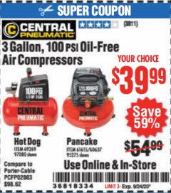 Harbor Freight Coupon 3 GALLON, 100 PSI OILLESS AIR COMPRESSORS Lot No. 69269/97080/60637/61615/95275 Expired: 9/24/20 - $39.99
