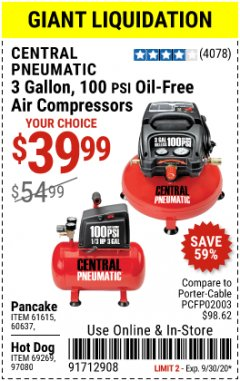 Harbor Freight Coupon 3 GALLON, 100 PSI OILLESS AIR COMPRESSORS Lot No. 69269/97080/60637/61615/95275 Expired: 9/30/20 - $39.99