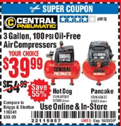 Harbor Freight Coupon 3 GALLON, 100 PSI OILLESS AIR COMPRESSORS Lot No. 69269/97080/60637/61615/95275 Expired: 10/23/20 - $39.99