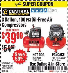 Harbor Freight Coupon 3 GALLON, 100 PSI OILLESS AIR COMPRESSORS Lot No. 69269/97080/60637/61615/95275 Valid Thru: 12/18/20 - $39.99