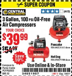 Harbor Freight Coupon 3 GALLON, 100 PSI OILLESS AIR COMPRESSORS Lot No. 69269/97080/60637/61615/95275 Valid Thru: 1/8/21 - $39.99