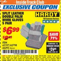Harbor Freight ITC Coupon SPLIT LEATHER DOUBLE PALM WORK GLOVES - 5 PAIR Lot No. 66292/62197/62798 Expired: 2/28/19 - $6.99