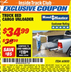Harbor Freight ITC Coupon TRUCK BED CARGO UNLOADER Lot No. 60800 Expired: 9/30/18 - $34.99