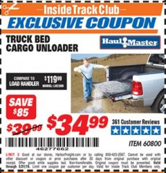 Harbor Freight ITC Coupon TRUCK BED CARGO UNLOADER Lot No. 60800 Dates Valid: 5/3/19 - 5/31/19 - $34.99