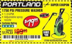Harbor Freight Coupon 1750 PSI ELECTRIC PRESSURE WASHER Lot No. 63254/63255 Expired: 11/12/17 - $79.99