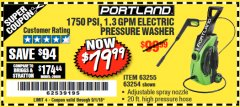 Harbor Freight Coupon 1750 PSI ELECTRIC PRESSURE WASHER Lot No. 63254/63255 Expired: 9/1/18 - $79.99