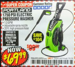 Harbor Freight Coupon 1750 PSI ELECTRIC PRESSURE WASHER Lot No. 63254/63255 Expired: 7/31/18 - $69.99