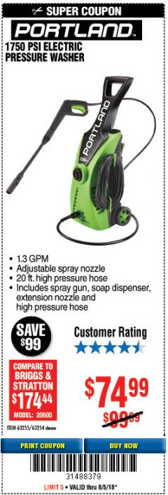 Harbor Freight Coupon 1750 PSI ELECTRIC PRESSURE WASHER Lot No. 63254/63255 Expired: 8/5/18 - $74.99