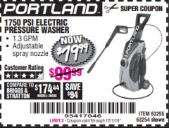 Harbor Freight Coupon 1750 PSI ELECTRIC PRESSURE WASHER Lot No. 63254/63255 Expired: 12/1/18 - $79.99